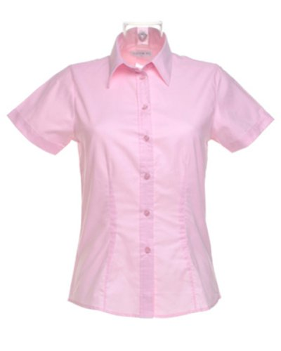 Kustom Kit Ladies Pinpoint S/S Shirt Rosa - Pink