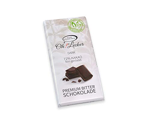 Oh! Lecker 4 x 80 g Zartbitter Stevia Schokolade ohne Zucker Zusatz| | low-carb| mit Zuckerfreier natürlicher Süße| Vegan| Ballaststoffreich| Kohlehydratarm| Laktosefrei| paleo| keto| Bean-to-Bar
