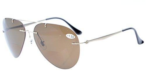 Eyekepper Sonne Leser Titanium Flieger Design Randlose Braun Linsen polarisierte Bifokale Sonnenbrillen +2.0