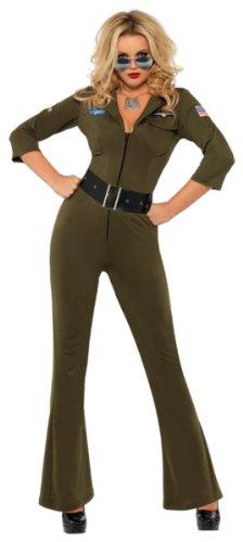Top Damen Outfit Gun (Top Gun Aviator - Damen - erwachsenes Abendkleid- Kostüm -)