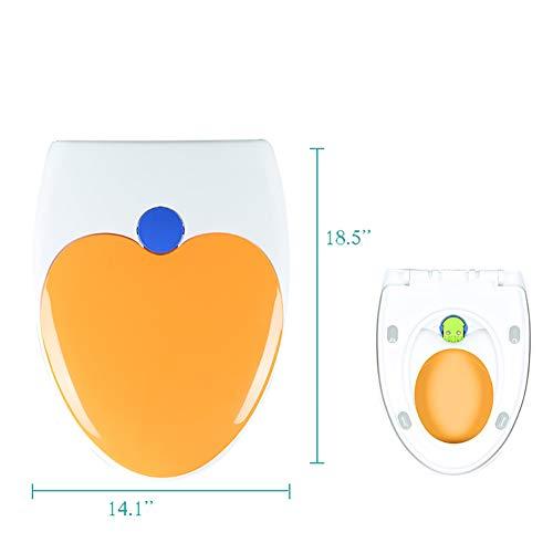 Premium Längliche Wc sitze Mit integrierten kindersitz Und Abdeckung Langsam-close Quick-release- Für einfache installation und reinigung Toilettendeckel-orange A (Längliche Holz-wc-sitz Schwarz)