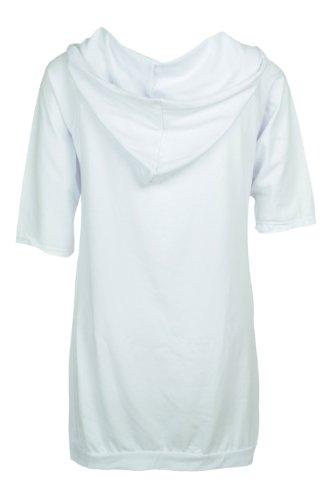 """Apparel Outlet - Sweat à capuche et à manches courtes imprimé """"Glamour"""" - Femme Blanc"""
