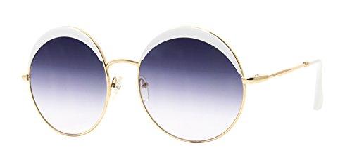 Cheapass Sonnenbrille Rund Weiß Gold Große Gläser Damen