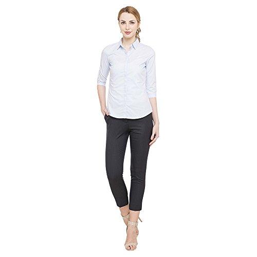 Van Heusen Women's Striped Regular Fit Shirt (VWSF318F004929_Light Blue With White _L)