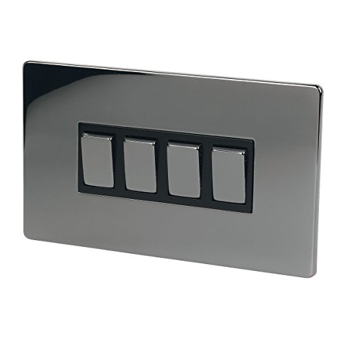 LAP 4-Gang 2-Way 10AX Light Switch Black Nickel by LAP