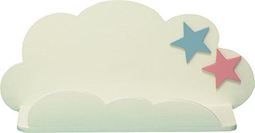 Sonpó online afa20 – mensola per bambini a forma di nuvola di afaeps, per riporre libri, giocattoli, peluche, accessori, fatta a mano, produzione artigianale in legno, con stelle, colore: bianco