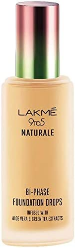 Lakmé 9 to 5 Naturale Foundation Drops, Silky Golden, 18 ml