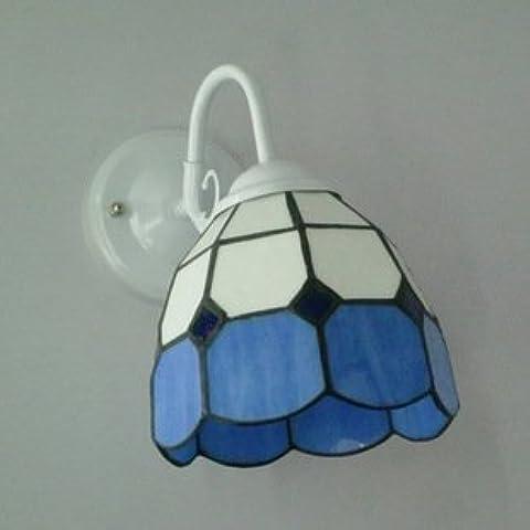 Dormitorio LLHZ luz del espejo azul del Mediterráneo Oriental vidrieras de hierro metálico minimalista del corredor corredor lámpara de pared