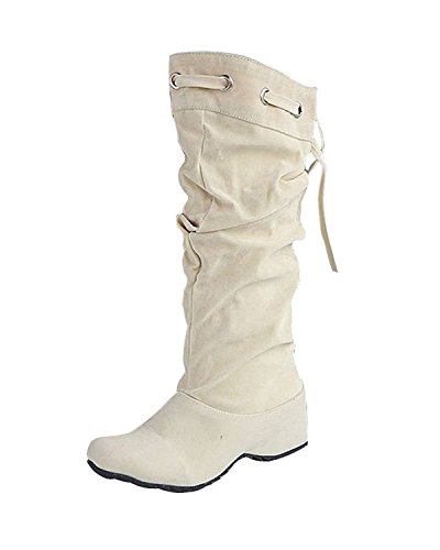 Minetom Donna Neve Stivali Autunno Inverno Calzature Female Moda Flats Half Boots Beige