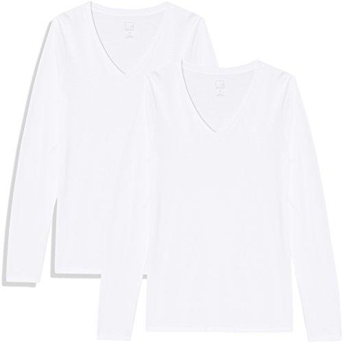 Baumwolle Damen V-neck T-shirts (MERAKI Damen Langärmeliges T-Shirt mit V-Ausschnitt, 2er Pack, Weiß (White/White), 38 (Herstellergröße: Medium))