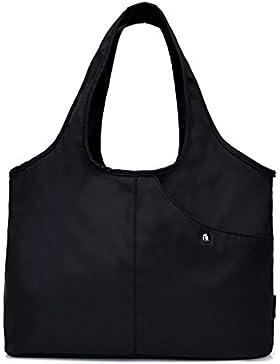 Damen Nylon Shopper Handtasche Große Kapazitäts Umhängetasche Tote Tasche mit Wasserdichte Tasche für Regenschirme
