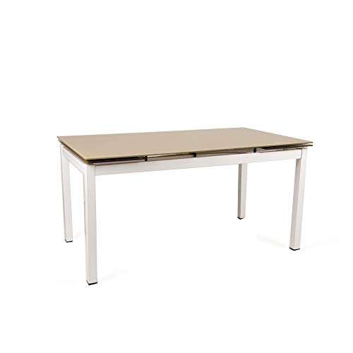 Cribel Maxi Tecno Tavolo, Vetro/Metallo Cromato, Bianco/Corda, 200x85x75 cm