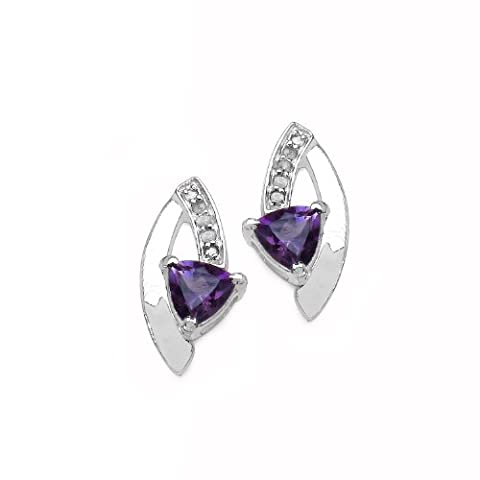 SchmuckMart Women's Stud Earrings Rhodium-Plated 925 Sterling Silver with Trillion-Cut
