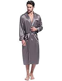 a535b932c7 LILYSILK Men s Silk Dressing Gown with Contrast Trim Long Robe Tailored Collar  22 Momme Pure Mulberry