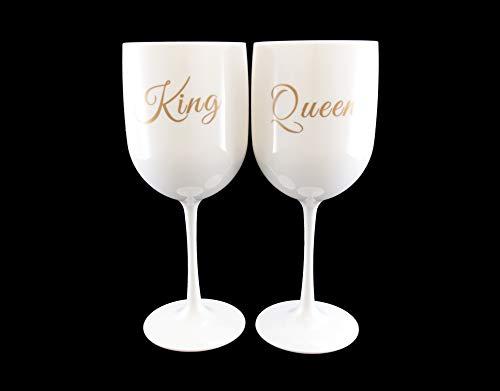 King & Queen Champagnerglas/Kelch, Acryl, goldfarben/Weiß, 2 Stück