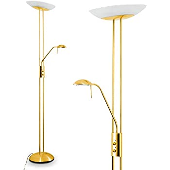 Dimmable Led Uplighter Brass Torchiere With Reading Led Light Amazon Co Uk Lighting