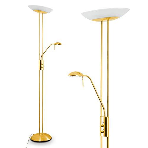 Luminaire LED Lucca doté de deux variateurs d'intensité indépendants, lampadaire de salon finition laiton avec vasque en verre ovale, teinte de lumière blanc chaud (3000 Kelvin), 2180 Lumen [Classe énergétique A++]