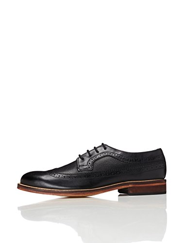FIND Men's Anton Derby Brogue Shoes, Black (Black), 9 UK