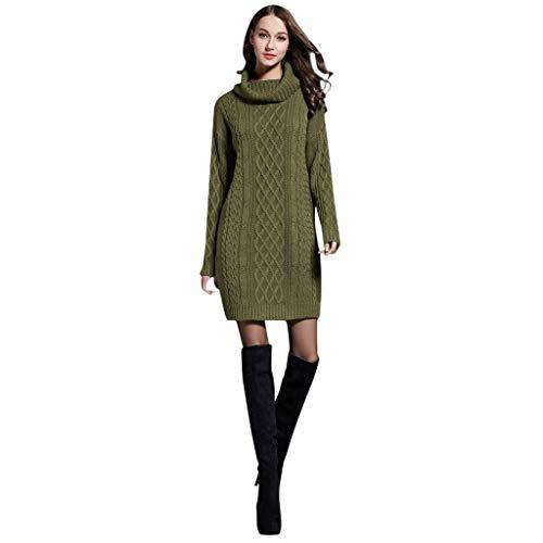 GATIK Damen Pullover Kleider Herbst Winter Muster Strickpullover Rollkragen Loose Jumper Large Size Mädchen Casual Minikleid(3XL,Grün)