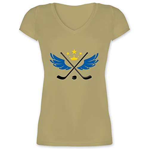 Eishockey - Hockey König - M - Olivgrün - XO1525 - Damen T-Shirt mit V-Ausschnitt