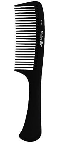 Peigne de cheveux - un manche professionnel de fibre de carbone de déchirure de poignée par Majestik +, la force et la durabilité, la dent grande, noire (MPC-001), avec la poche libre du produit de PVC de Bespoke