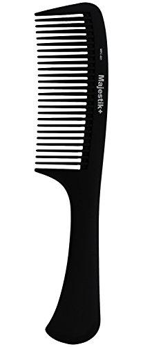 Peine de pelo - un mango profesional de fibra de carbono destello peine de Majestik +, fuerza y durabilidad, dientes grandes, negro (MPC-001), con libre de productos de PVC PVC