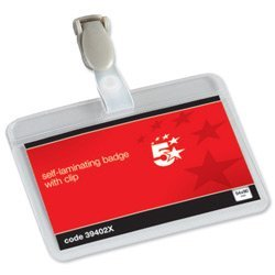 brand-new-5-star-name-badges-self-laminating-landscape-with-plastic-clip-54x90mm-pack-25