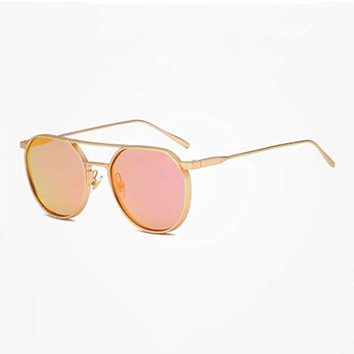 Sonnenbrille kreisförmigen Rahmen Retro Metall Flut Fahren Reisen einkaufen Brille (Farbe: Gold Rahmen Bobbi Puder Objektiv)