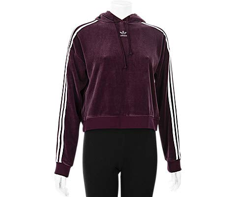 Adidas Women's Originals 3-Stripes Trefoil Cropped Hoodie (L, Maroon) Originals 3 Stripes Trefoil