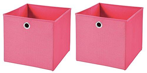 2 Stück Pink Faltbox 32 x 32 x 32 cm Aufbewahrungsbox faltbar