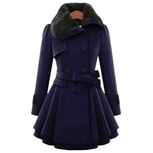 JEELINBORE Women's Vintage Trench Coat Belted Double-Breasted Winter Dress Coats Slim Long Woolen Outerwear with Faux Fur Collar (Navy, CN 3XL) Belted Damen Trench Coat