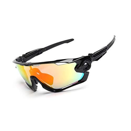 KnSam Winddicht Uv-Beständig Sportsonnenbrille Polarisiert Kratzfester Scheibe Panoramablickfeld Schwarz Schutzbrille