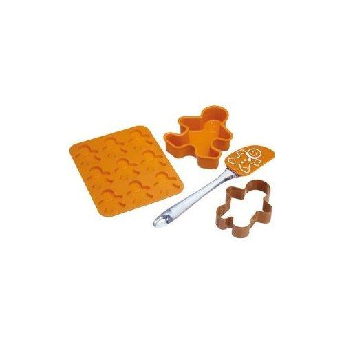 Let's Make Pfefferkuchen-Backset 4-teilig aus Silikon in braun, 28 x 28 x 30 cm, 4-Einheiten Gingerbread Cookie Pan
