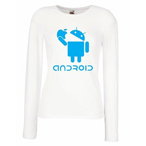 Manches Longues Femme T-Shirt Android Mange la Pomme -Jaime les Gadgets Tech Cool, Cadeau DHumour Blanc Bleu