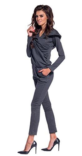 Lemoniade eleganter Jumpsuit mit Langen Ärmeln, Elegantem Schnitt und ausgefallenen Details (M (38), Modell 3 Dunkelgrau)