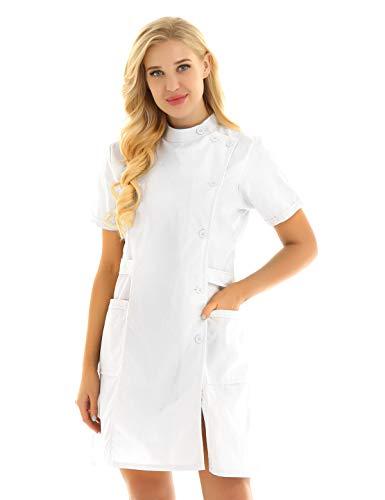 MSemis Sexy Krankenschwester Kostüm Damen Frauen Lingerie Dessous-Sets Babydolls Versuchung Cosplay Rollenspiele Pflegeuniformen Krankenschwester Kleider Nurse Uniforms A Weiß Large - Wissenschaftler-kittel