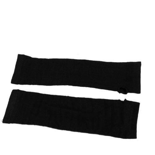 Preisvergleich Produktbild SODIAL (R) Damen Winter dehnbaren Manschette finger Schwarz Gestrickte lange Handschuhe Armstulpen Pair