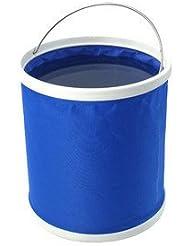 Tela resistente, Ultra portátil forma multifuncional plegable plegable cubo de agua de agua 9L para pesca Camping Senderismo viajes jardinería ajustable bolsas de almacenamiento (paquete de 2)