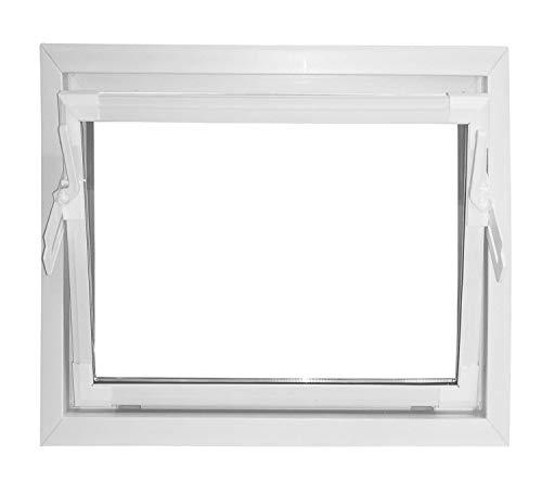 ACO 60cm Nebenraumfenster Kippfenster Fenster weiß Kellerfenster Isoglasfenster, Größe Kippfenster:60 x 40 cm