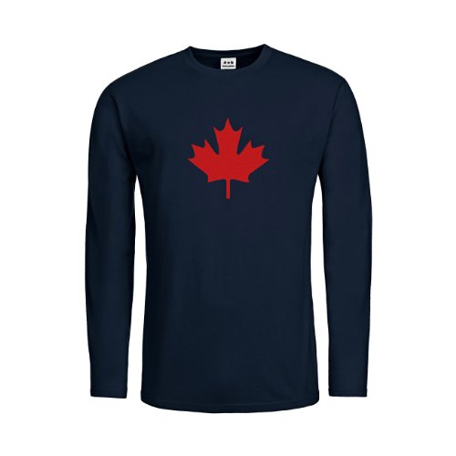 Langarm T-Shirt Kanada Ahorn 20drpt15-mtls00033-80 Textil navy / Motiv rot Gr. M (80 Kostüme Für Kanada)