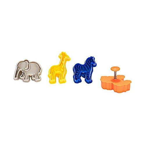 Patisse 01998 - set di 4 formine per biscotti di pasta frolla, a forma di animali, in polipropilene, colore: giallo/blu/arancione/rosso/bianco