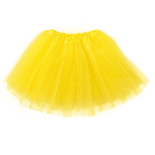 Mangotree Mädchen Tütü Minirock Organza Pettiskirt 3 Layers Petticoat Tanzkleid Unterrock Perfekt für Fasching (Gelb Und Schwarz Tutu)