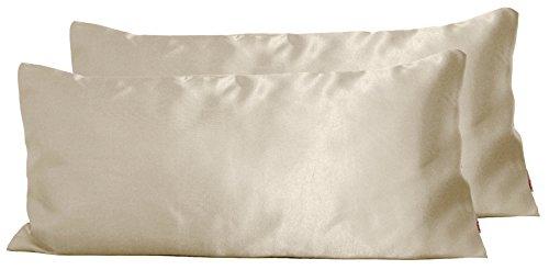 Paket mit 2 x beties Glanz Satin Kissenbezug 40x80 cm anschmiegsam & edel 100% Polyester in 4 beliebten Größen (champagner)