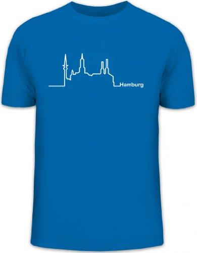 Shirtstreet24, Skyline Hamburg, Herren T-Shirt Fun Shirt Funshirt, Größe: XXL,royal blau