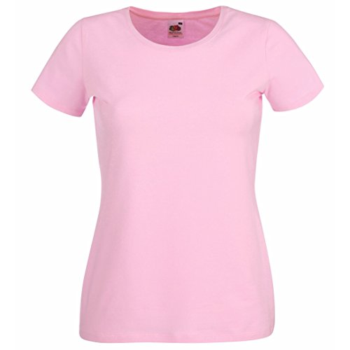 Fruit of the Loom-Lady-fit T-Shirt Crewneck SS053 Rosa - Hellpink