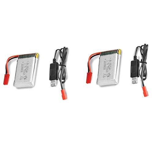 2 x 3.7V 750mAh Li-Po wiederaufladbare Batterie + 2 x USB-Ladekabel für Q9 Drohne