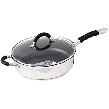 ready steady cook bistro 26cm stainless steel nonstick saute pan with glass lid