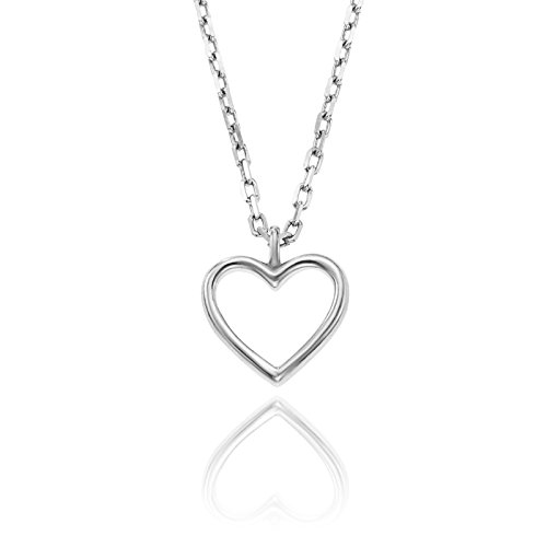 LillyMarie Damen Feine Silberkette Echt Silber Offenes Herz-Anhänger Längen-verstellbar Satin-Beutel Freundinnen Geschenk