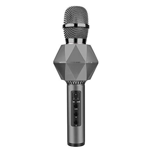 ERLIANG Cellulare Karaoke Microfono Microfono Wireless Altoparlante 3 in 1 Portatile Bluetooth Karaoke casa KTV casa,Gray