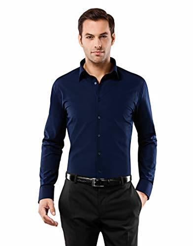 Vincenzo Boretti Herren-Hemd bügelfrei 100% Baumwolle Slim-fit tailliert Uni-Farben - Männer lang-arm Hemden für Anzug Krawatte Business Hochzeit Freizeit dunkelblau ()